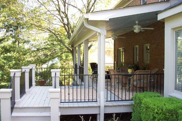 Future back deck deck ideas pinterest vinyls decks Covered porch house plans