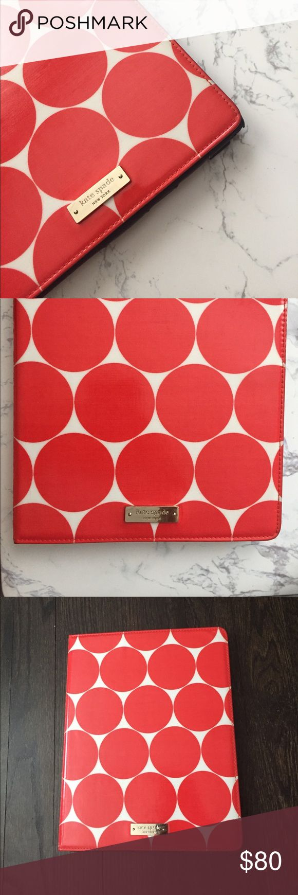 Kate Spade iPad 2 Case Good condition! Price is reflective on any wear, See photos. Beautiful white and red polka dots and navy blue interior. kate spade Accessories Tablet Cases