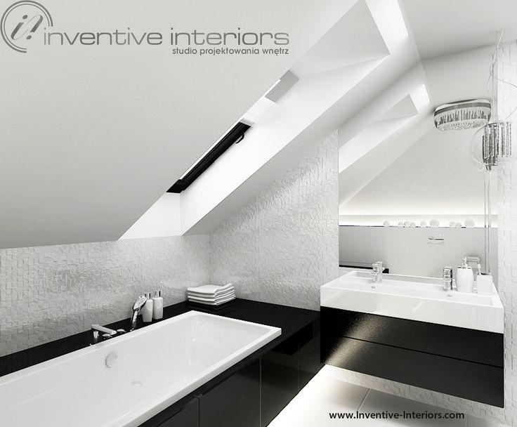 Projekt łazienki Inventive Interiors - biało-czarna łazienka na poddaszu z mozaiką