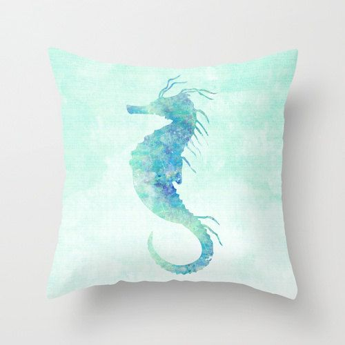 Seahorse Pillow Case Nautical Home Decor Beach by MiaoMiaoDesign, $32.00