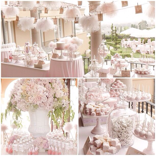 White and soft pink wedding reception