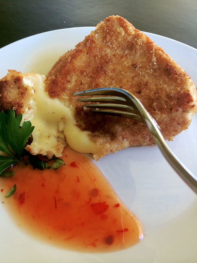 Pan Fried Breaded Brie. Molten cheese in a crispy crumb.  Melting oozy deliciousness