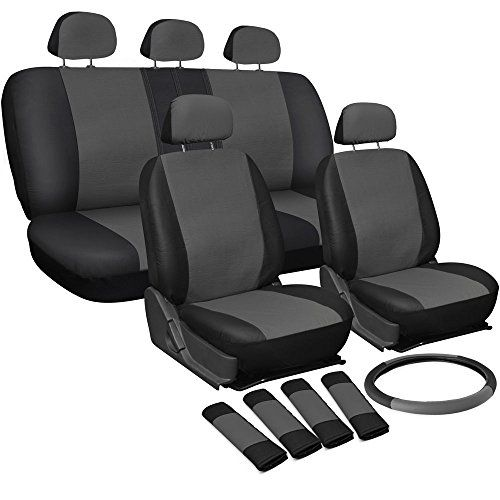 17pc Faux LeatherAuto Car Seat Covers Set with Steering Wheel Cover Airbag Compatible 5050 or 6040 Rear Split Bench Universal Fit for Car Truck or SUV Grayblack * For more information, visit image link.Note:It is affiliate link to Amazon.