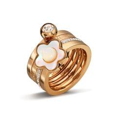 ФФ ювелирные изделия оболочки цветок из перламутра цветы с бриллиантами маркировка логотип четыре-шт комплект кольца кольцо