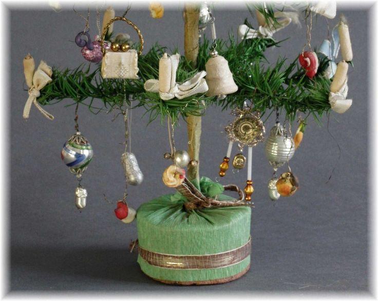 ! rar! foncé federbaum avec clinquant tragant Lauscha Gablonz ouates Dresde sebnitz in Sammeln & Seltenes, Saisonales & Feste, Weihnachten & Neujahr   eBay