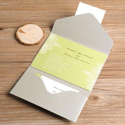 Olive Green Damask Silver Pocket Wedding Invitations