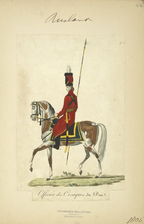 Don Cossack Officer (NYPL > The Vinkhuijzen collection of military uniforms > Russia. > Russia, 1806 [part 2])