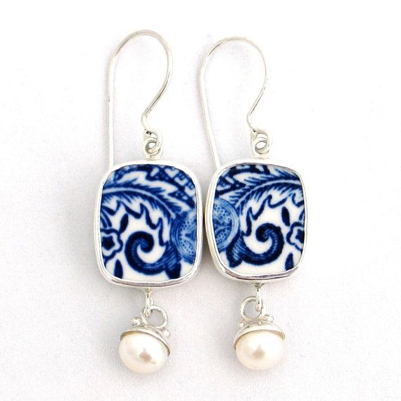 Broken China Jewelry Blue Willow Sterling by vbellejewelry on Etsy, $98.00