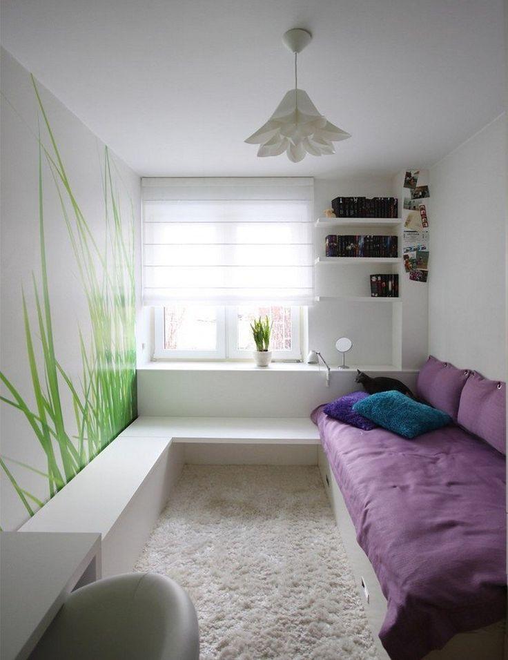 Einzelbett mit Bettkasten, Fototapete Gras und weiße Möbel