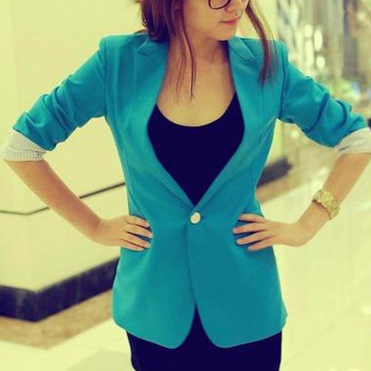 Blue Pull Sleeve Blazer