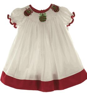 Baby and toddler girls white smocked Christmas bishop dress.