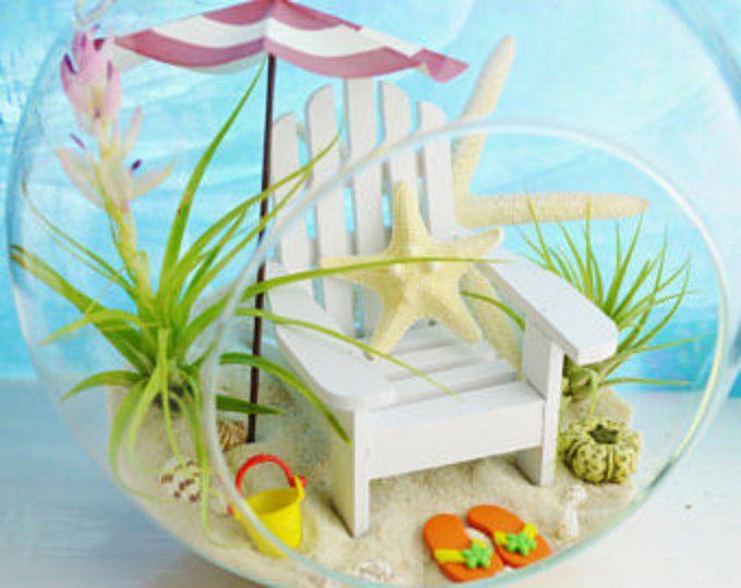 Beach Terrarium Kit ~ Day At The Beach Terrarium ~ Beach Umbrella Color  Choice ~ Adirondack Chair ~ Air Plants ~ Glass Globe ~ Gift