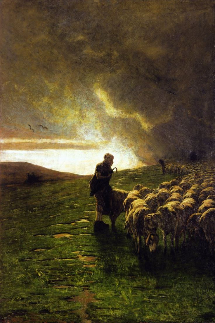 """After the Storm"" the shepherd comforts his sheep..... by Giovanni Segantini"