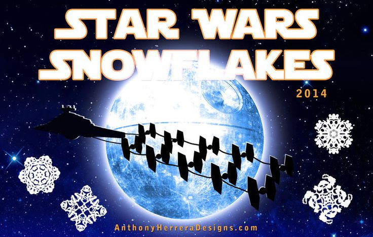 """Deck the halls with """"Star Wars"""" snowflakes of Jabba the Hutt, Greedo, Han Solo, Captain Rex, wampas, X-Wings and Space Slugs."""