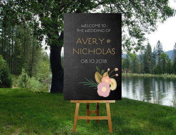 Wedding Welcome Sign. Chalkboard & vintage flowers. Custom poster sign - Choose: PDF digital file OR printed sign