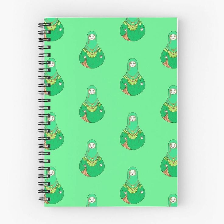 Green matryoshka doll spiral notebook. Available in my Redbubble shop called Almonda. http://ift.tt/2hj7U5l  #pattern #patterned #patternlove #russiandoll #babushka #matryoshkadoll #nestingdolls #backtoschool #stationerylove #journals #journaling #stationeryaddict