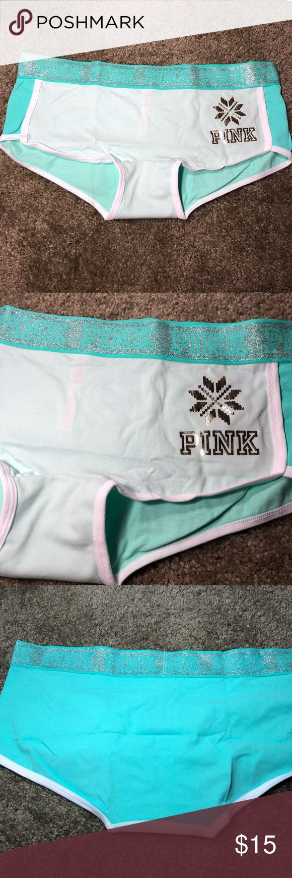 ❄️VS PINK WINTER HOLIDAY BOYSHORTS❄️ Super cute teal boyshort Panties from  Victoria's Secret Pink Size Large Glittery and great for winter time :) New in packaging, just taken out for photos PINK Victoria's Secret Intimates & Sleepwear Panties