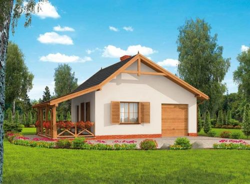 Dom letniskowy składający się z obszernej zadaszonej werandy, części mieszkalnej oraz garażu jest wyborem dla wszystkich żądających praktycznych rozwiązań.