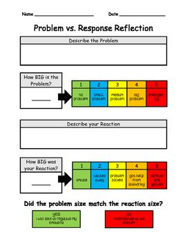 Based off of the Zones of Regulation Curriculum and the 1-5 ScaleThis product includes two different kinds of worksheets to help students process through their reactions to different problems. I usually laminate a copy of the thermometer so that students can keep a copy in their workbooks and use like a mini white board.