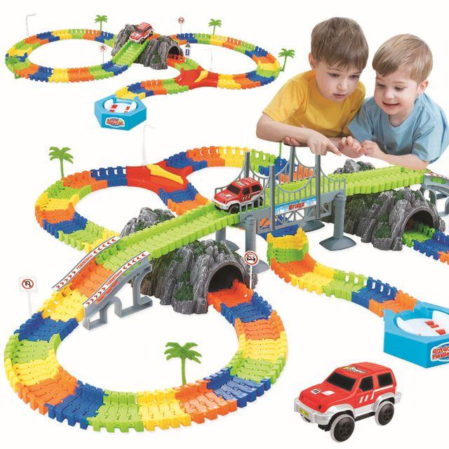 Assemble Diy Railway Road Flexible Track Toys Railroad Flex Race Tracks Set 96 144 192 240pcs Rail Cars Toys Gift For Children R Toy Railroad Track Toy Toy Car