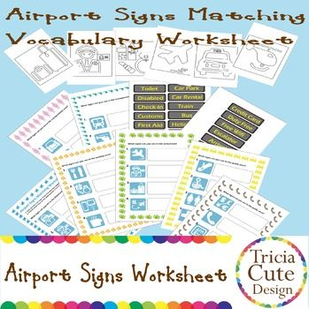 This PDF printable file consists of 15 pages:7 pages of airport signs matching worksheet (25 symbol signs),2 pages of text signs (25 text signs),6 pages of coloring pages.Simply cut out the text signs from the text signs pages and paste them next to the appropriate symbol signs.- Symbol Signs and Text Signs matching.- Teach your children to understand the meaning of different airport signs.- Let your children learn about what signs they can see in different airport areas. $2.30