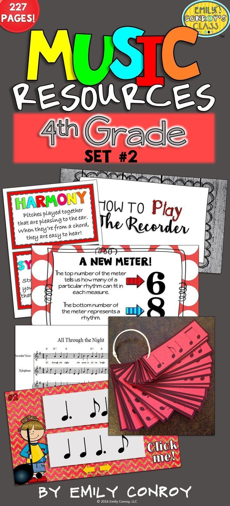 4th Grade Music Resources contains 227 pages of worksheets, PowerPoints, songs, and manipulatives for kindergarten music students! The songs even come with MP3 sound files!