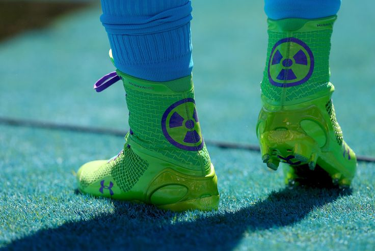 A general view of the shoes of Cam Newton #1 of the Carolina Panthers as he warms up before their game against the New York Giants at Bank o...