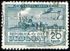 Uruguay #C95 Stamp for sale  Plane over Sculptured Oxcart Stamp  Airmail Stamp