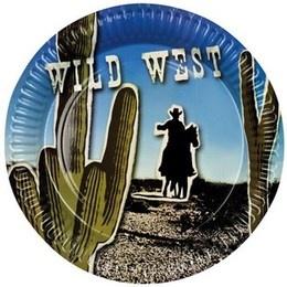 Bordjes Wild West -  Een pakje met 6 papieren bordjes in western stijl. | www.feestartikelen.nl