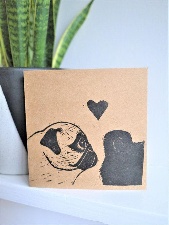 Pug Valentine's Day Card Hand Printed Lino by TheBlackPugPress