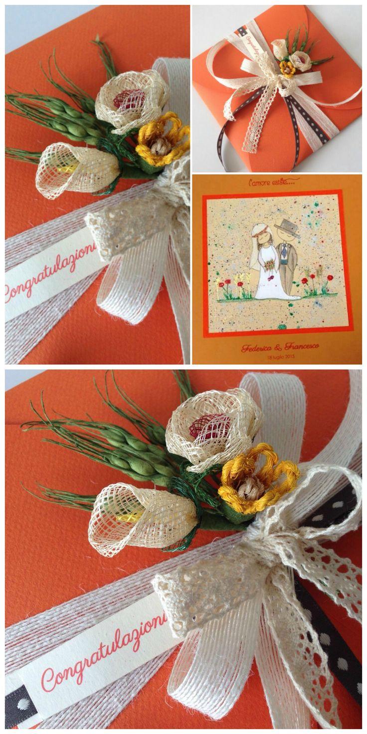 Congratulazioni a Federica e Alessandro. #wedding #weddingcards #sposini #weddingday #ilgiornopiubello #nozze #specialday #congratulations #party #ricevimentodinozze #lunadimiele #congratulazioni #papercraft #fattoamano #handcrafted #bigliettodiauguri #matrimonio #illustration #lacasasullalbero #madeinitaly #littlebouquet