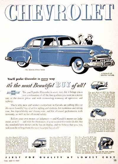 1949 Chevrolet Styleline Deluxe Sedan vintage ad. You'll prefer Chevrolet in every way - it's the most Beautiful Buy of all!