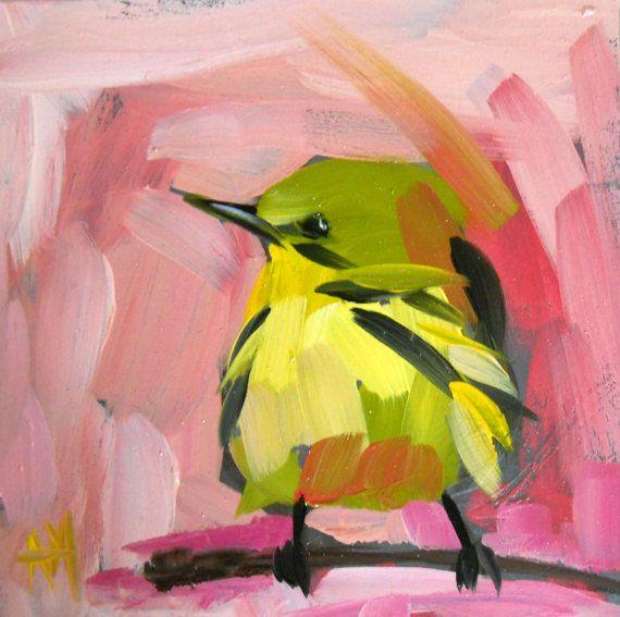 """Angela Moulton: """"Yellow Warbler on Rose Morning"""""""