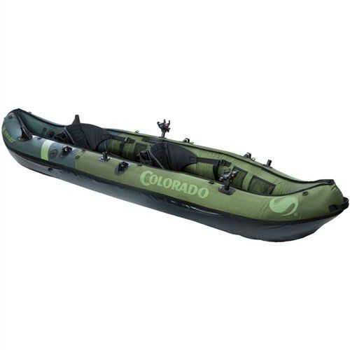 Coleman Colorado(TM) 2-Person Fishing Kayak  $ 599.99      18-gauge PVC construction is rugged for lake use     1000D tarpaulin bottom and 840D nylon cover provide durable protection from punctures     Multiple air chambers allow another chamber to stay inflated if one is punctured     Airtight® System is guaranteed not to leak