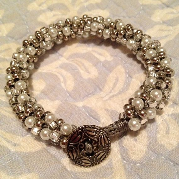 Silver Nickel and Pearl Kumihimo Bracelet by KumihimoRUs on Etsy, $30.00