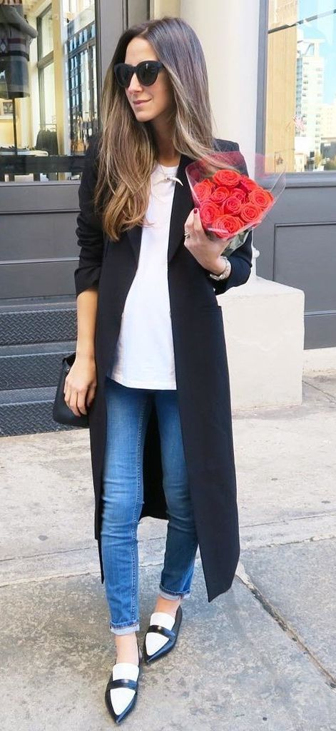 Duster Coat With a White Shirt and Loafers