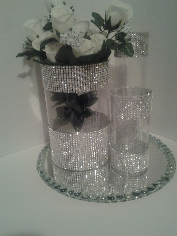 Wedding centerpiece tall glass candle holder by EEBdesigns on Etsy