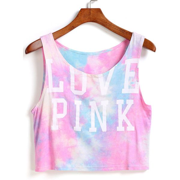Letter Print Crop Pink Tank Top featuring polyvore, fashion, clothing, tops, crop tops, shirts, pink, cropped vest, crop shirts, pink tank top, pink top and pattern shirts