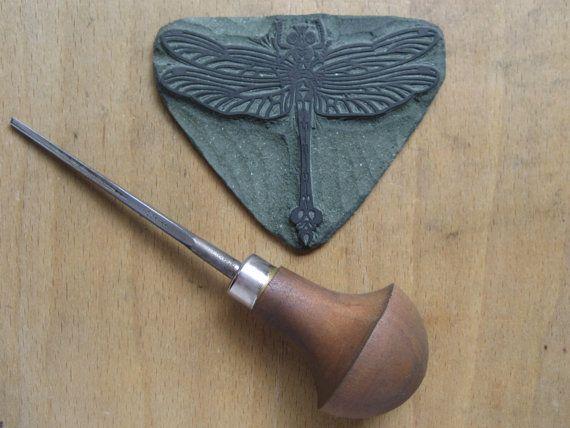 Dragonfly Linosnede afdrukken / / handgemaakte / / origineel