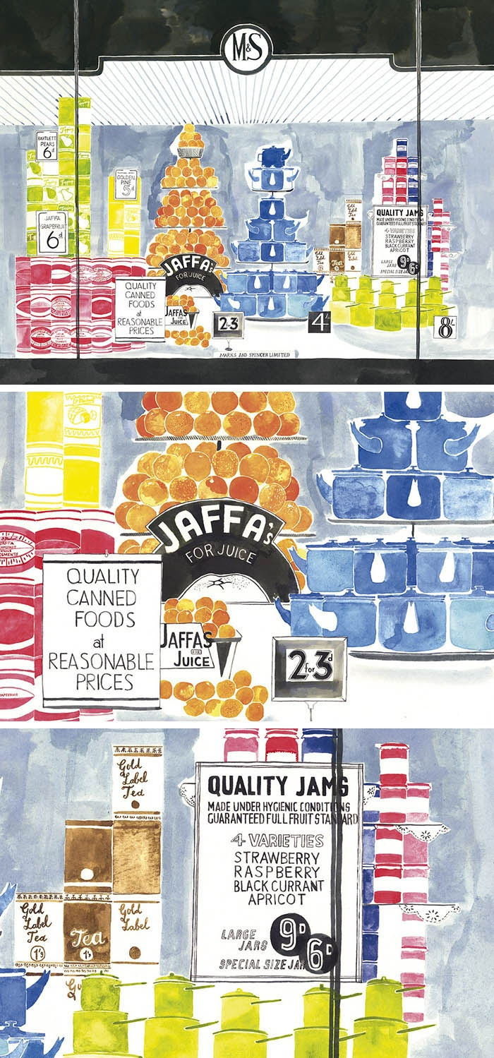 Illustrations for Marks and Spencer's 125th Anniversary by Emily Robertson