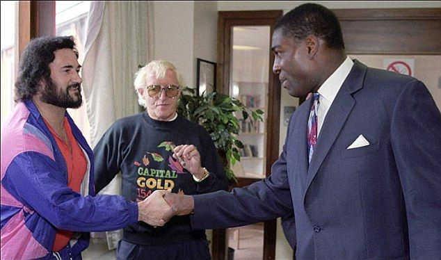 Yorkshire ripper Peter Sutcliffe, with Jimmy Saville and boxer Frank Bruno in…