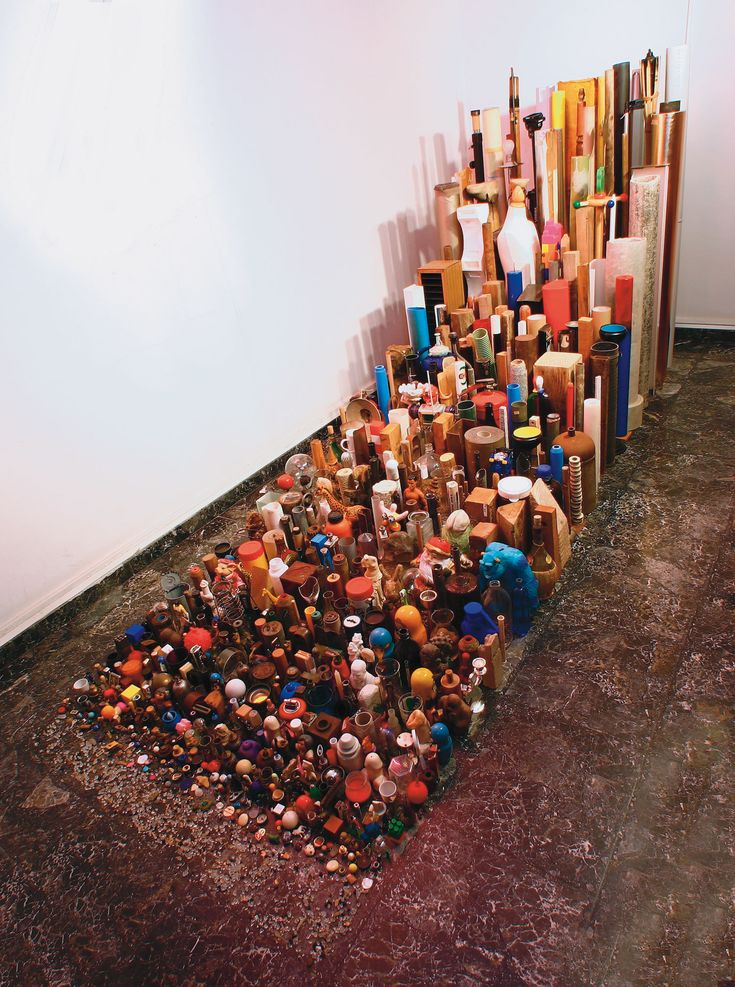 """Tony Cragg, Untitled, 1985, Mixed media.  """"I use everything but, preferably, after it has been used by man… what interests me is the special critical appraisal that we apply to manmade objects and man's activities.  It's a real problem; the world is full of manmade objects. It's about time we stopped producing and started clarifying and reevaluating the objects we have put into the world."""