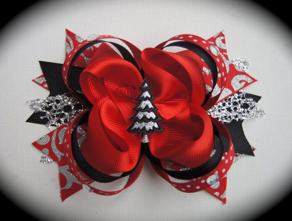 Red and Black Christmas Bow
