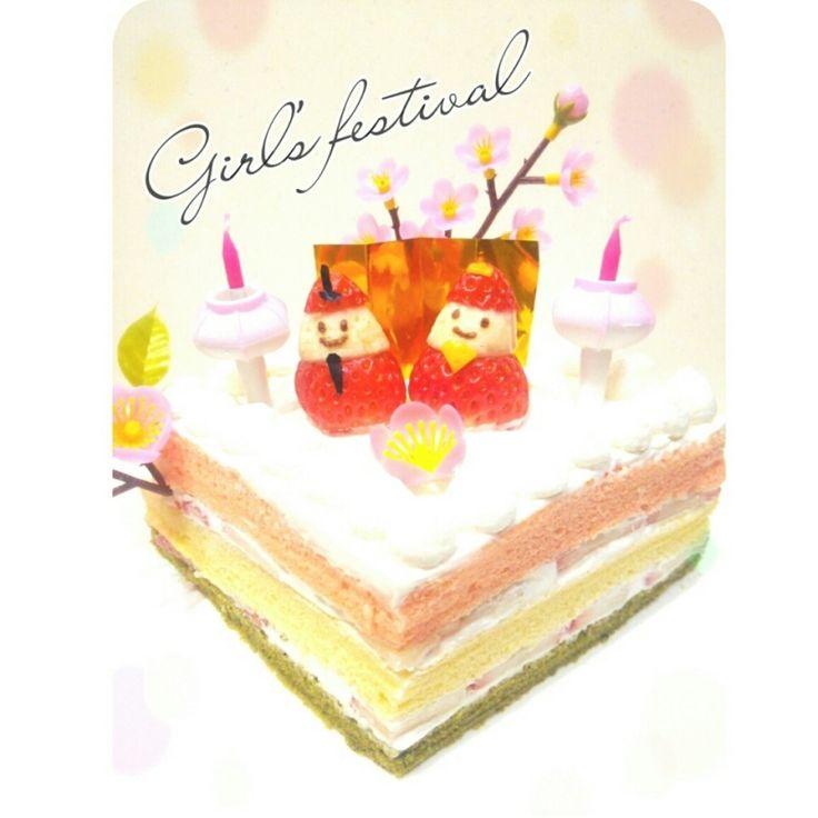 3色シフォンの菱餅風ひな祭りケーキ