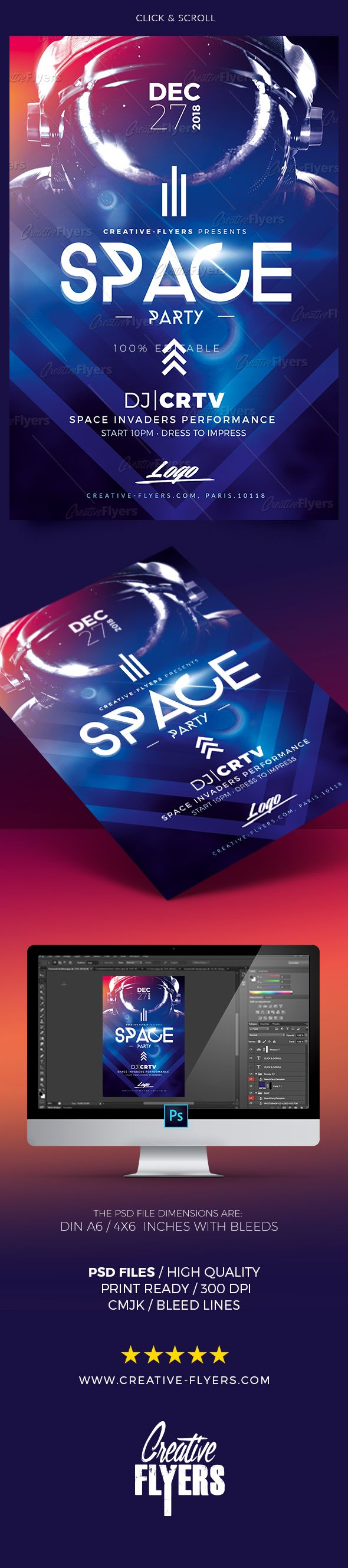 Creative Space Flyer -  premium Photoshop PSD flyer / poster template designed by Creative Flyers - Perfect to promote your Space Party ! #space #flyer #electro #template #creativeflyers