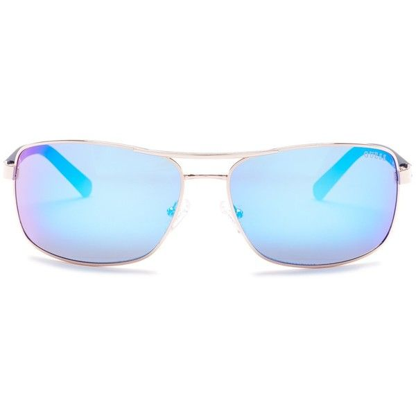 GUESS Women's Rectangular Aviator Metal Frame Sunglasses ($30) ❤ liked on Polyvore featuring accessories, eyewear, sunglasses, metal sunglasses, blue lens glasses, mirror lens sunglasses, blue aviator sunglasses and metal aviator sunglasses