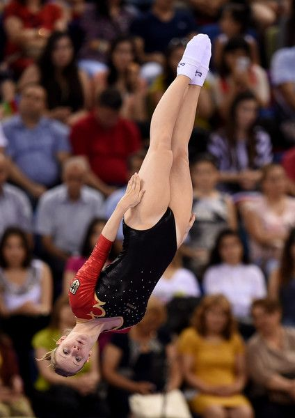 Leonie Adam of Germany competes in the Women's Gymnastics Trampoline Individual Qualification during day five of the Baku 2015 European Games at the National Gymnastics Arena on June 17, 2015 in Baku, Azerbaijan.