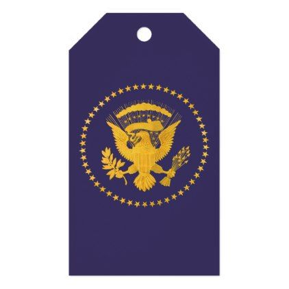 Gold Presidential Seal on Blue Ground Gift Tags - gold gifts golden customize diy