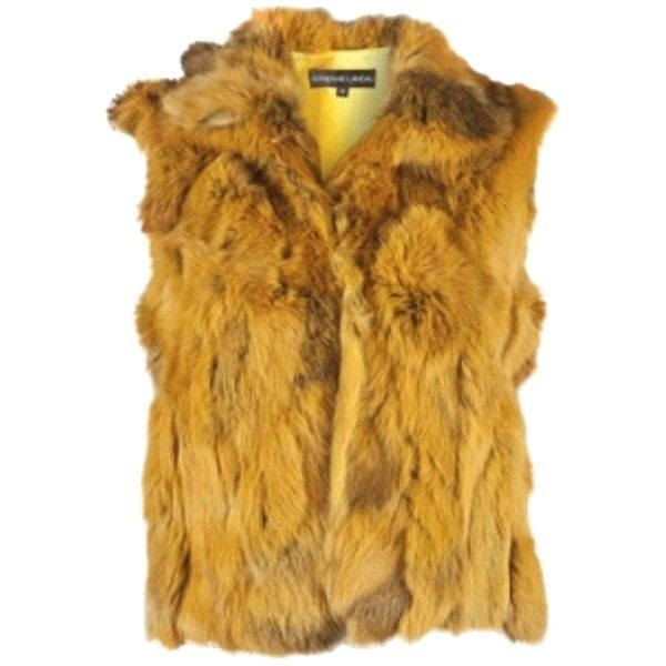 Pre-owned Adrienne Landau Fur Rabbit Soft Vest ($164) ❤ liked on Polyvore featuring outerwear, vests, yellow, brown fur vest, rabbit vest, brown waistcoat, rabbit fur vest and vest waistcoat