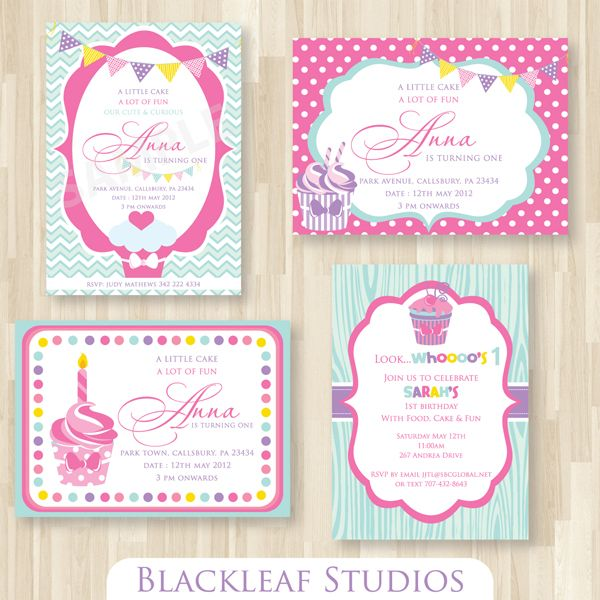These adorable little Cupcake themed invitation templates can be used as birthday cards, baby shower invitations, thank you cards, rsvp cards, etc.,  The file contains 4 different invitation card templates
